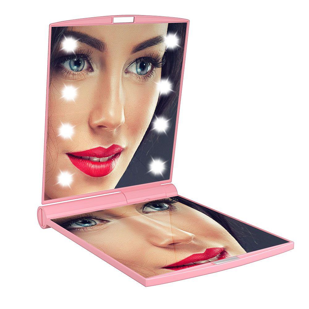 Espelho compacto de bolsa com LED DC102 Gbmax Rosa