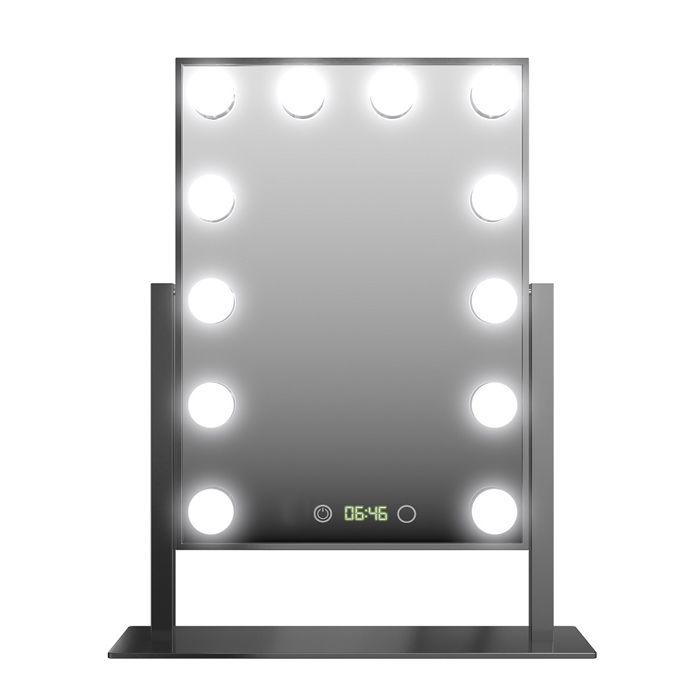 Espelho de Mesa Profissional Hollywood DC117 C/12 Led Bulbo e Relógio Preto Gbmax