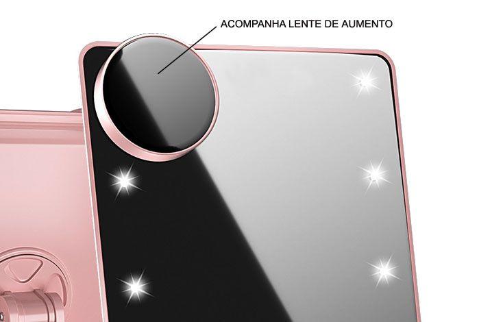 Espelho para Maquiagem com 16 leds e lente de aumento GB5 Rosa Gbmax