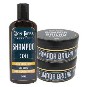 Kit Barba Shampoo 3 Em 1 + Pomada Brilho + Pomada Matte Combo Majestade