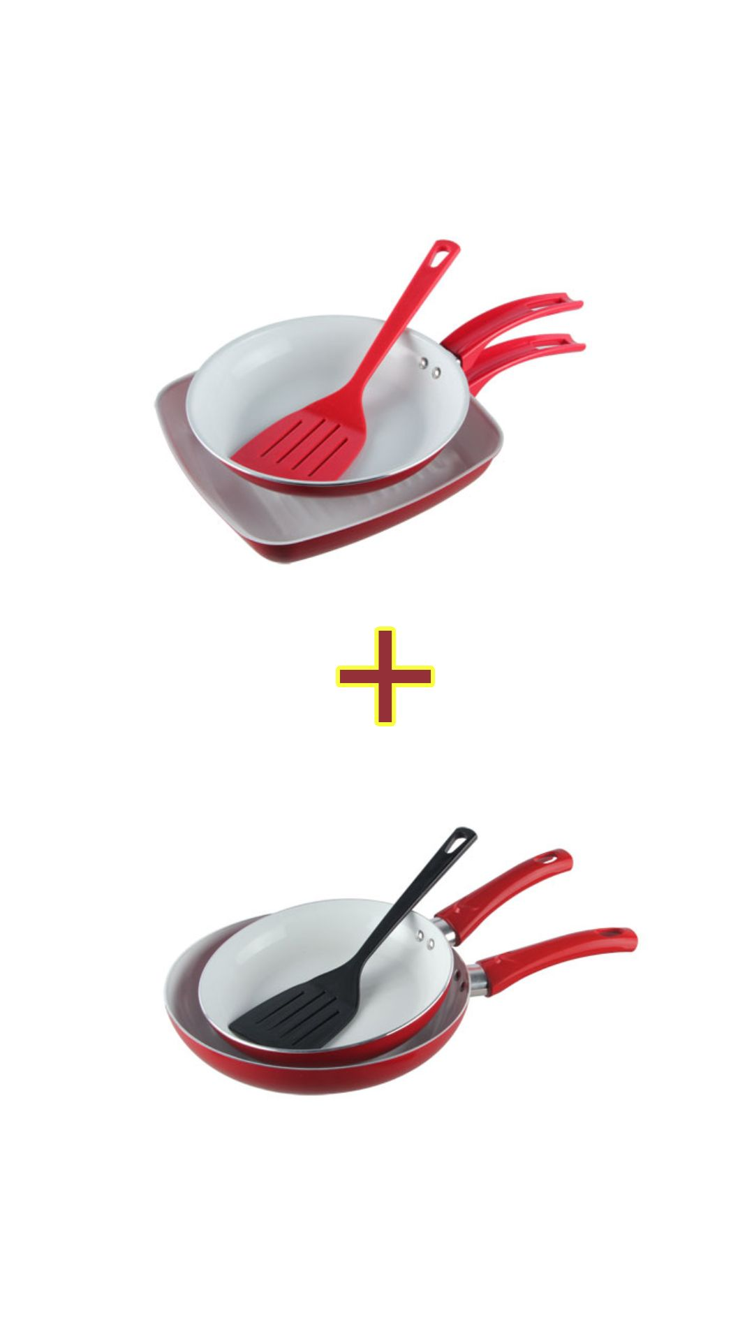 Kit de frigideiras 3 frigideiras + 1 bistekeira + 2 espatula AL012/AL010