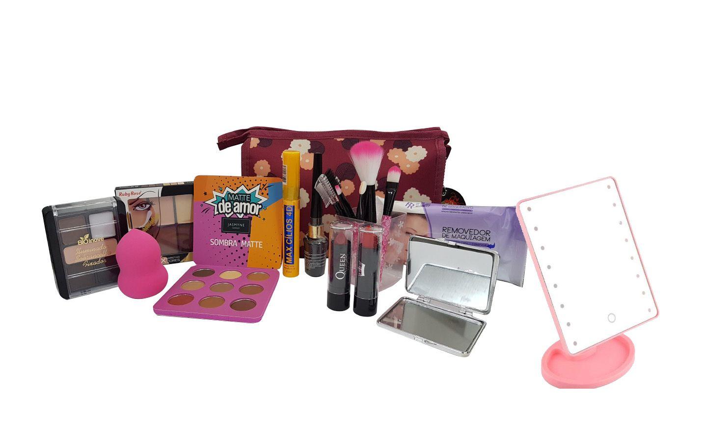 Kit Necessaire Maquiagem Completa Ruby Rose + Espelho
