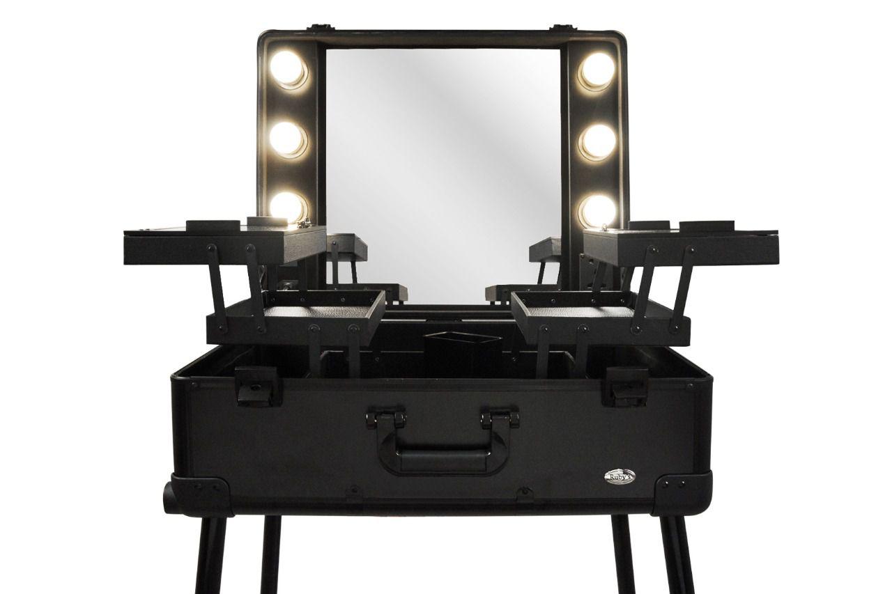 Maleta Camarim Profissional Maquiagem Makeup Led Bluetooth Ruby Preto