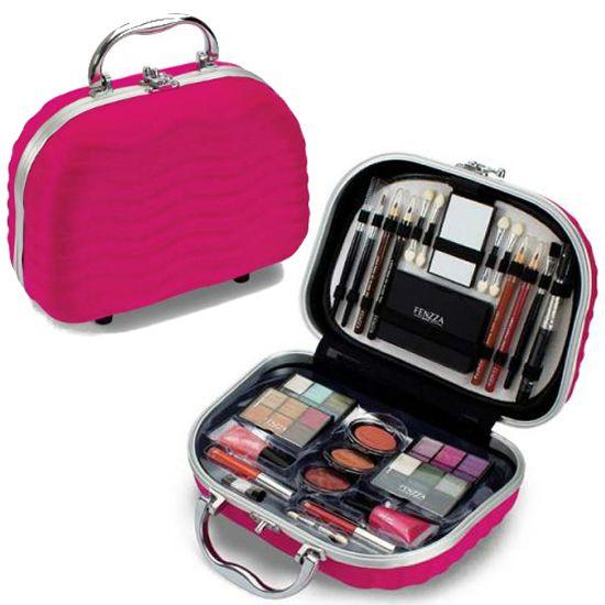 Maleta de Maquiagem Fenzza Rosa com 46 Itens - HZP723 + Organizador Porta Batom