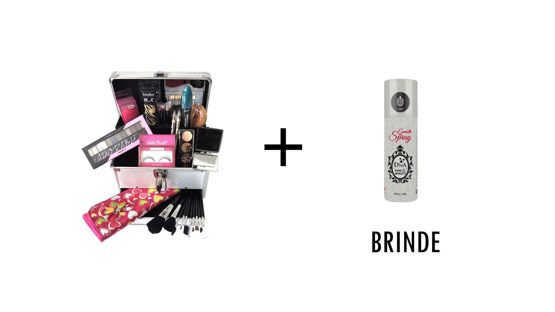 Maleta de Maquiagem Grande Completo Profissional Ruby Rose + Brinde