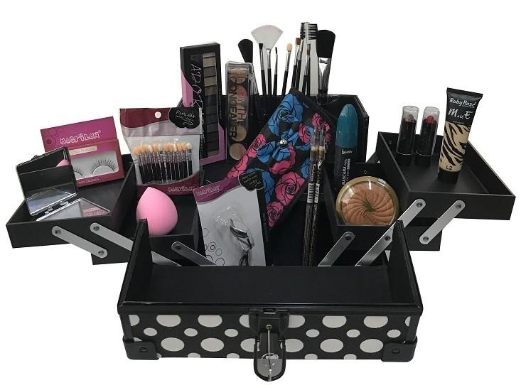 Maleta de Maquiagem Grande Kit de Maquiagem Completo Profissional Preto Bolinha
