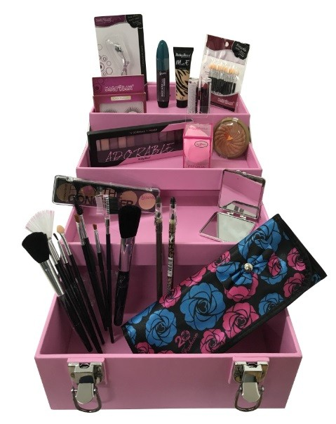 Maleta de Maquiagem Grande Kit de Maquiagem Completo Profissional Ruby Rose Rosa