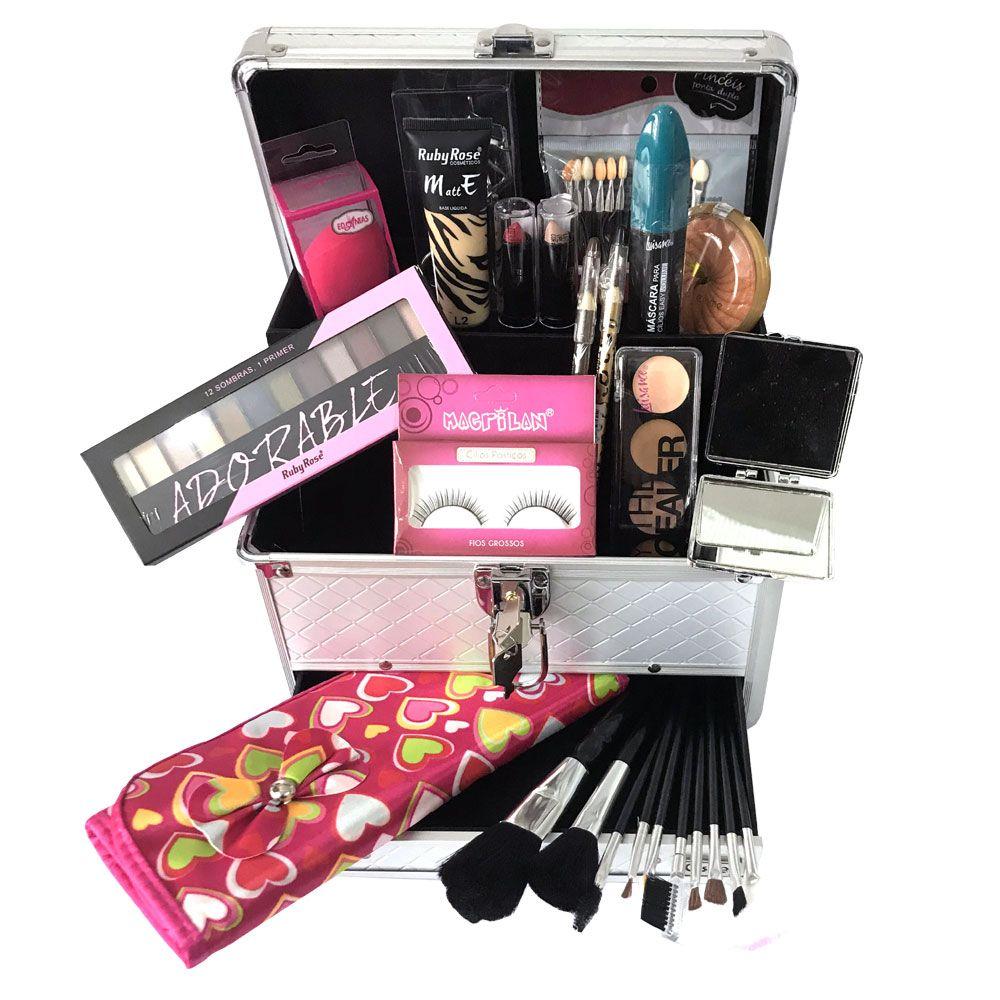 Maleta de Maquiagem Grande Kit de Maquiagem Completo Ruby Rose + Espelho Led DC104 Preto