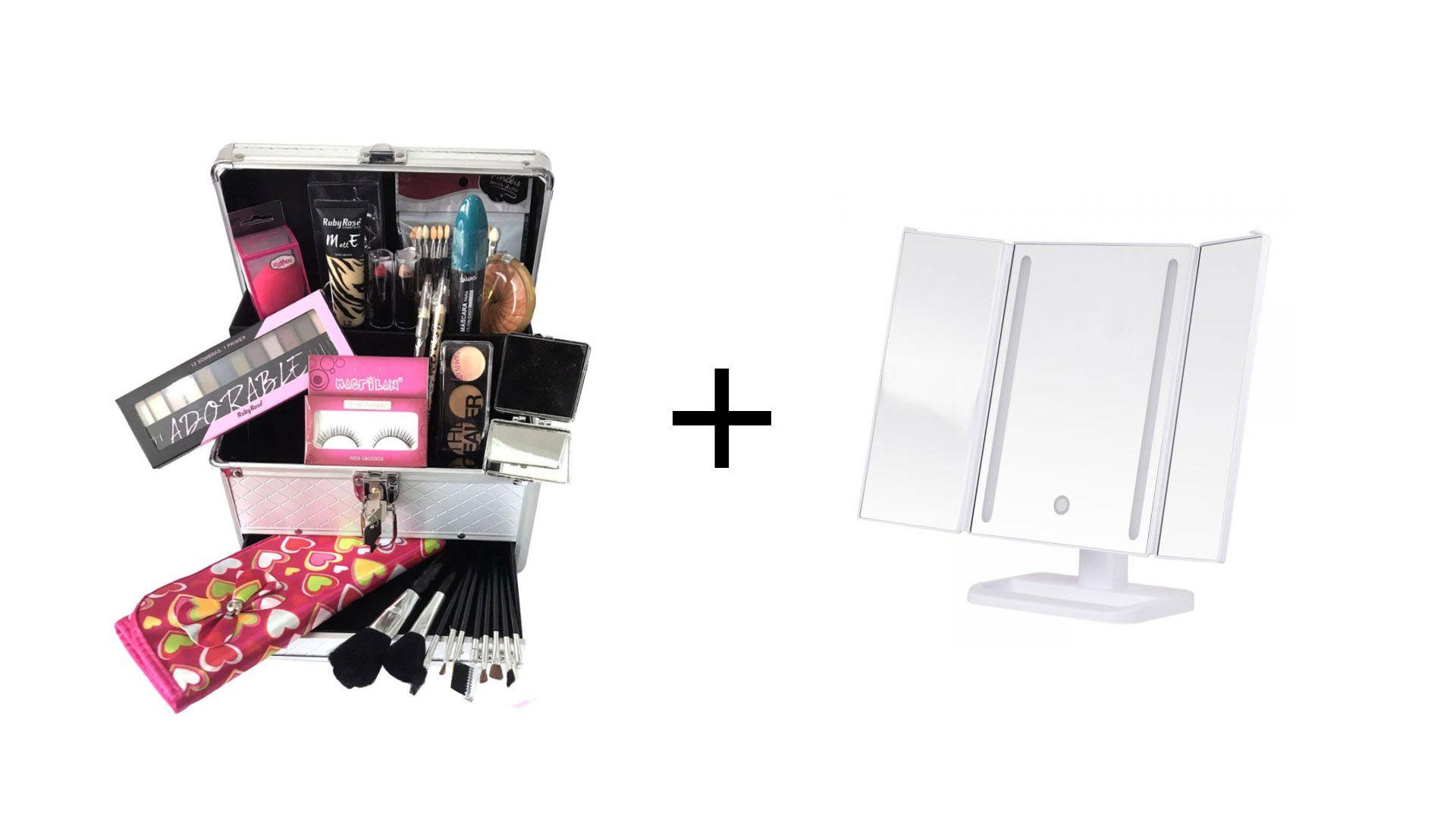 Maleta de Maquiagem Grande Kit de Maquiagem Profissional Ruby Rose + DC104 Branco