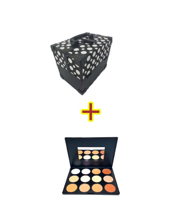 Maleta Maquiagem Profissional  Preta + Paleta de Correção e Contorno Charmy Luisance L783