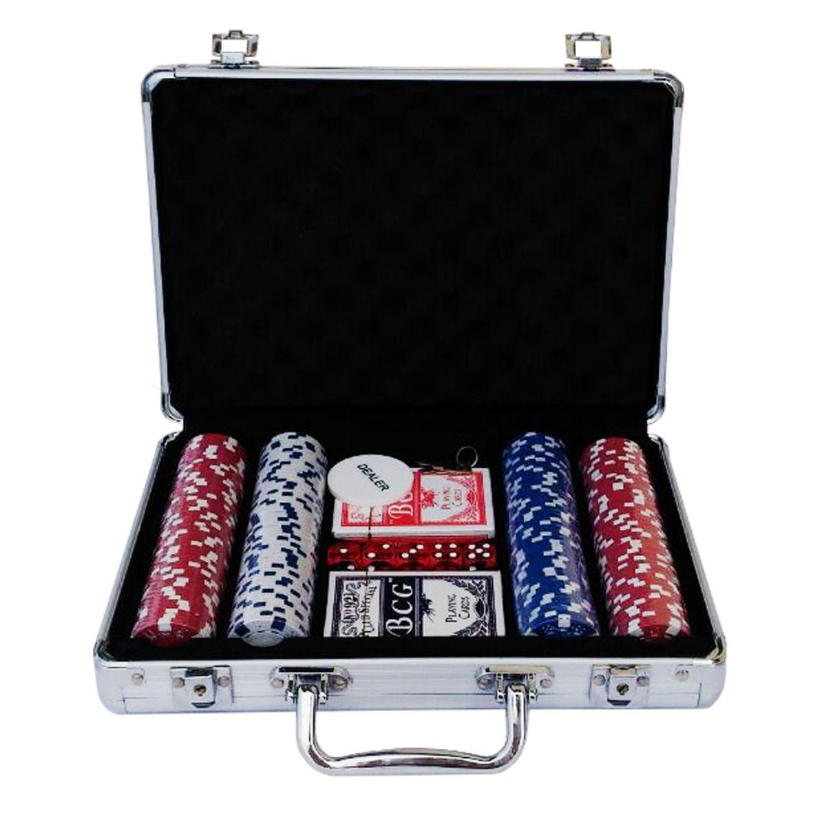 Maleta Poker Profissional 300 Fichas Numerada+Embaralhador