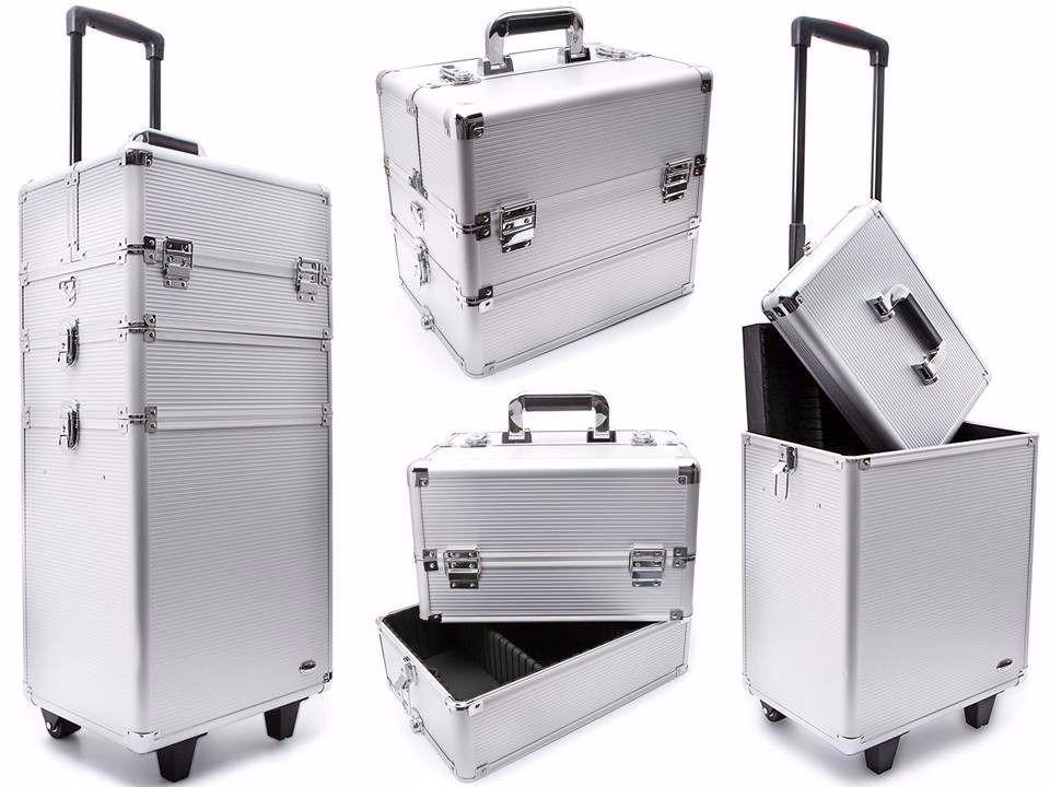 Maleta Profissional para Maquiagem e Acessórios 3 Andares com Carrinho Ruby´s FS-1206-A Prata