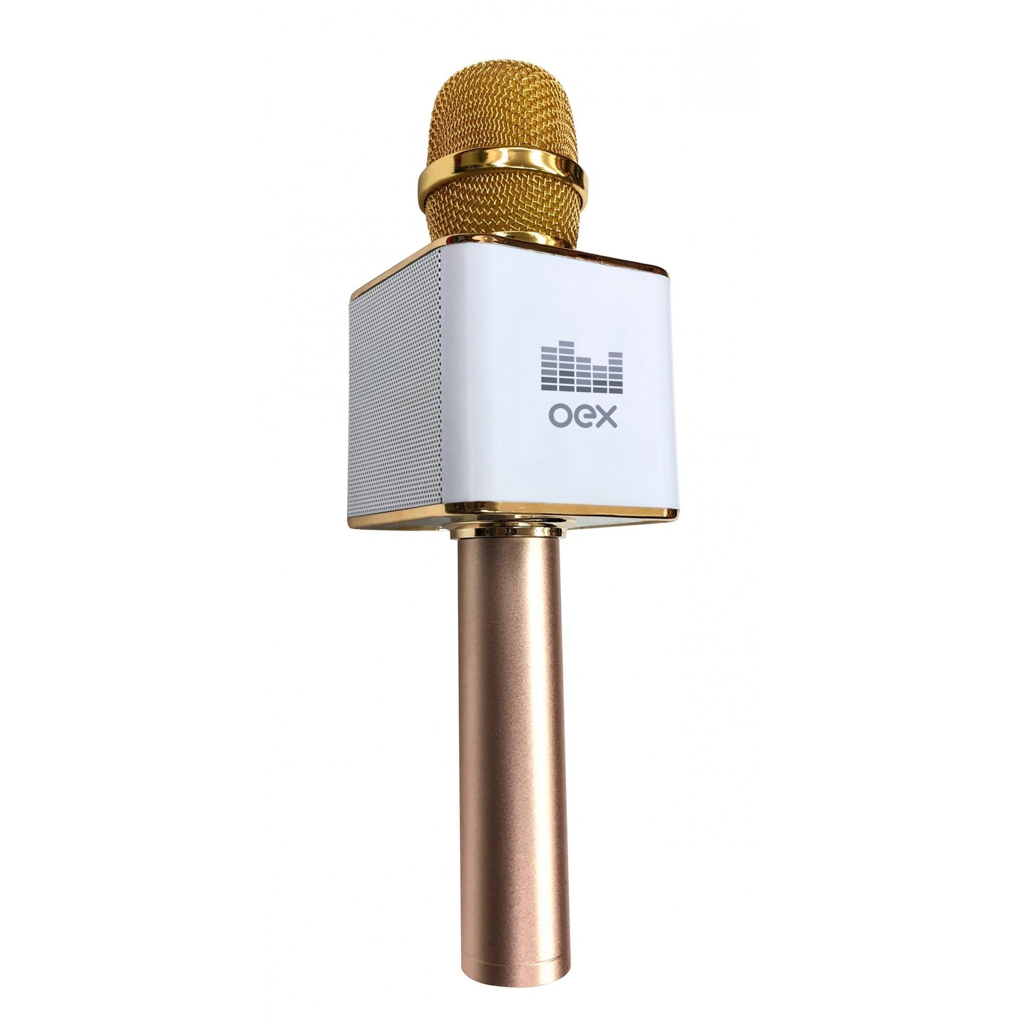Microfone Karaoke Voice Bluetooth Dourado 6W MK100 Oex