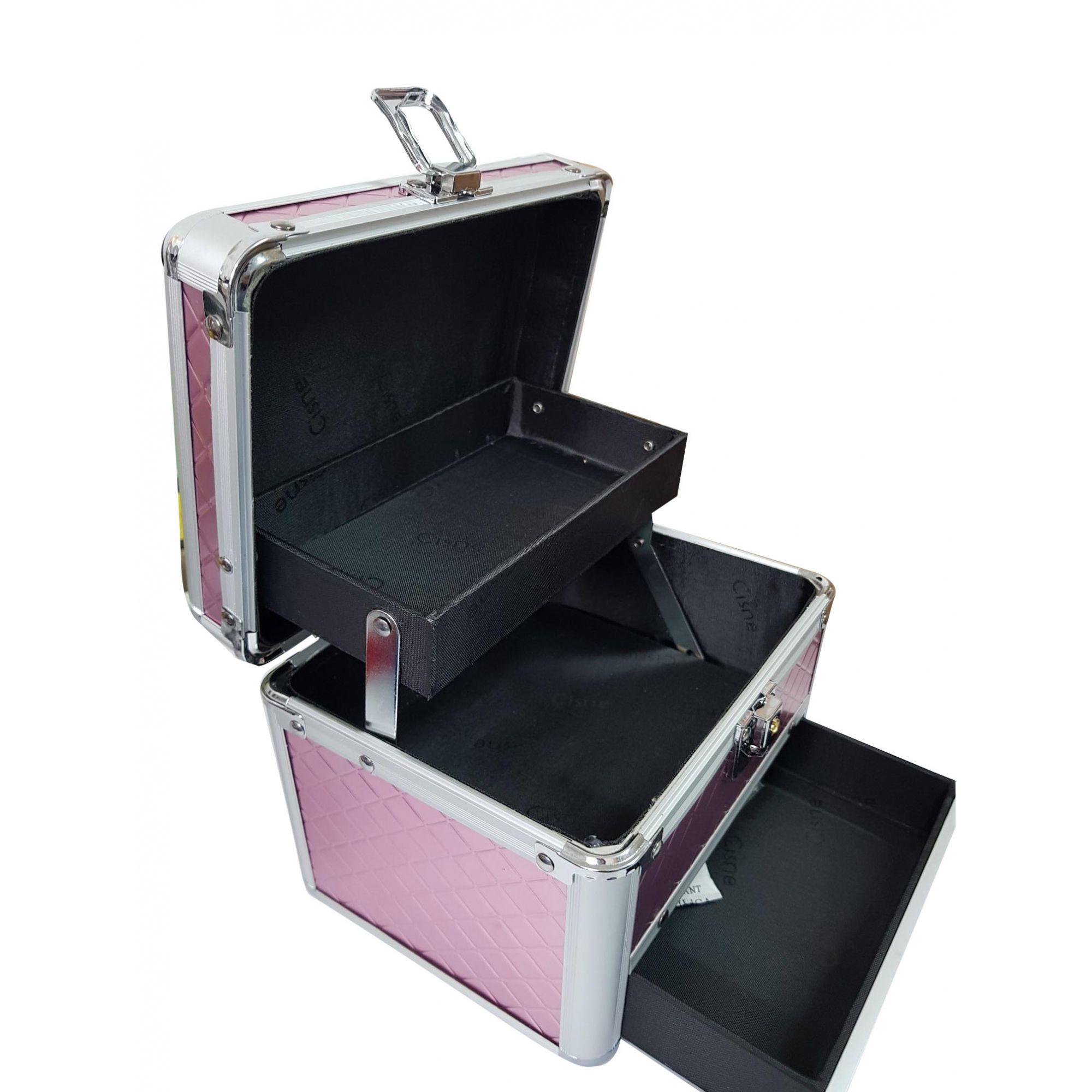 Mini Maleta de Maquiagem Aluminio Rosa