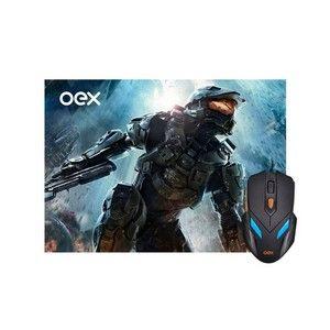 Mousepad e Mouse War Gamer Oex Led 6 Botões 2400DPI MC100