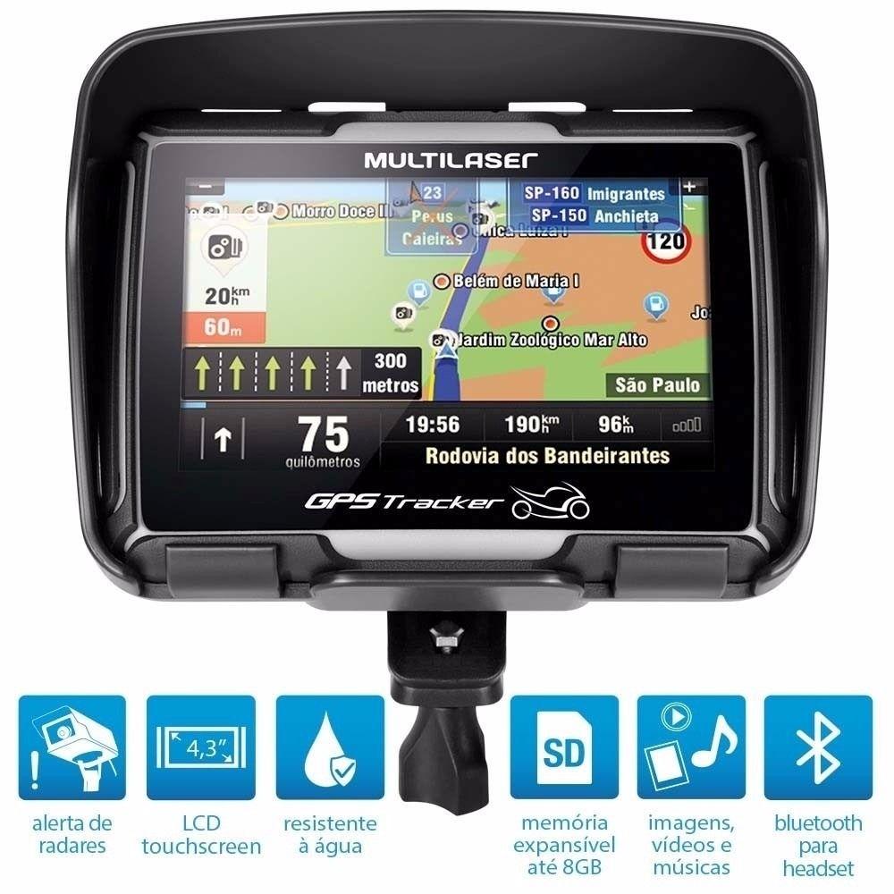 Navegador GPS Multilaser Tracker para Moto Tela 4.3