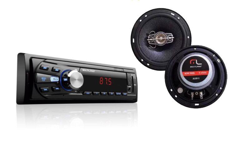 Som Automotivo Multilaser Rádio Fm Com Usb Aux E Sd Card Led Soul P3294 + Par Alto Falantes AU911