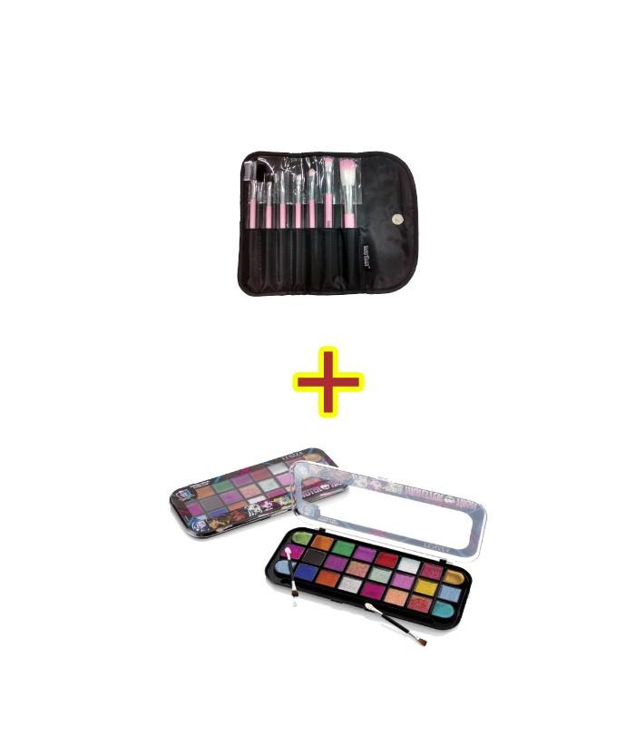 Sombra em gel glitter glam Monster High fenzza SGX2352+ Kit com 7 pincéis para maquiagem KP5-3A