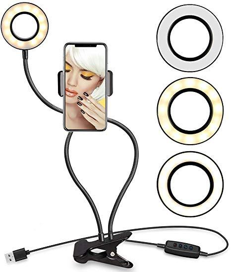 Suporte Para Celular De Mesa P/selfie Com Luminária Led Tx0