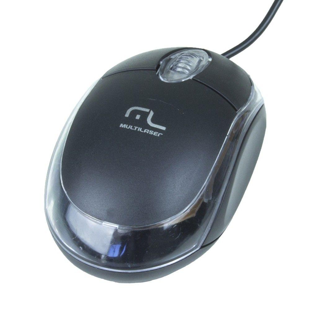 Teclado Multilaser Slim Preto Laser Usb - Tc193 + Mouse Óptico Multilaser MO179