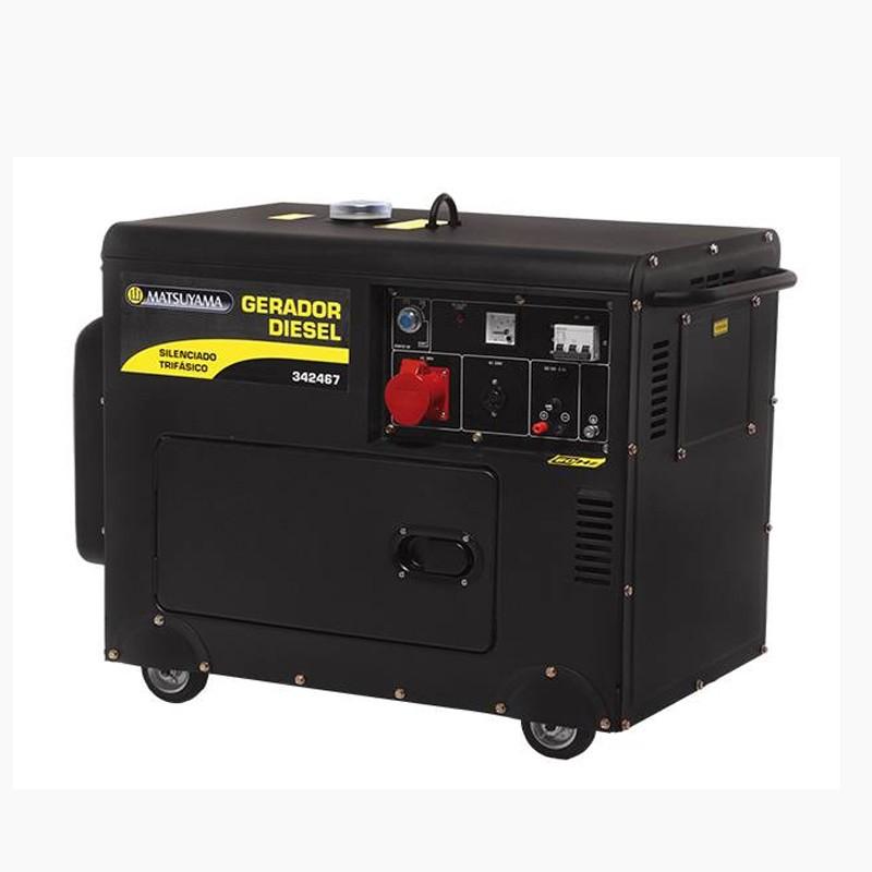 Gerador 6500 Diesel Silenciado Trifásico 380V Partida Elétrica Matsuyama