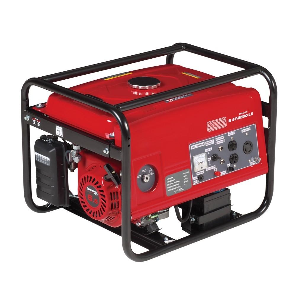 Gerador Monofásico Gasolina 6.5 HP B4T-2500 Bivolt Partida Manual Branco