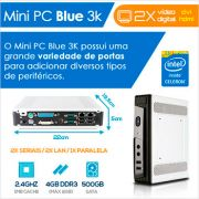 Mini PC Bluetech 3K Intel Celeron Dual Core J1800 4GB DDR3 HD500GB HDMI DVI 2X Seriais 2x LAN 1x Paralela