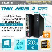 Mini PC Bluetech Thin Asus II Intel Dual Core J1800 2GB DDR3 HD 500GB 1x Serial Fanless