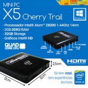 MiniPc Bluetech Intel® Quad Core X5 Cherry Trail Z8300, 2GB DDR3, 32GB Armazenamento, Gigabit LAN, Wifi b/g/n, Bluetooth, Windows 10