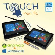 Mini PC Bluetech Touch Intel® Quad Core 2GB DDR3L, HD 32GB eMMC, HDMI, Wifi b/g/n, Gráficos HD Intel, Windows 10 + Android, Tela 8.9 pol