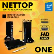 Mini PC Bluetech Nettop One Intel® Dual Core™, 4GB DDR3, HD 500GB, HDMI, VGA, USB 3.0, Card Reader, Wifi