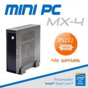 Mini PC Bluetech MX-4 Intel Dual Core, 2GB, HD 500GB, 4x portas seriais RS-232, 6x portas USB