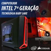 Computador Bluetech Gamer, Intel Core i5-7400 Kaby Lake, 8GB DDR4, HD 1TB, GTX 1050 2GB, Fonte 500W, Gabinete Corsair
