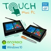 Mini PC Bluetech Touch Intel® Quad Core 2GB DDR3L, HD 32GB eMMC, HDMI, Wifi b/g/n, Gráficos HD Intel, Windows 10 + Android, Tela 7 pol
