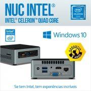Mini PC NUC Intel Celeron Quad Core, Memória 2GB DDR3L, 32GB Armazenamento, HD SATA SSD, Slot M2, HDMI, VGA, Wifi, Bluetooth, Infravermelho, USB 3.0