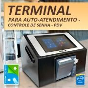 Terminal de Auto-Atendimento - Controle de Senha - PDV - Impressora Térmica - Intel Quad Core, 2GB DDR3L, 32GB eMMC, Wifi, 8.9 pol