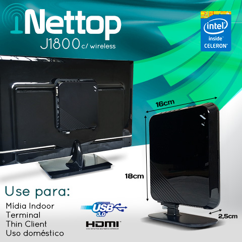 Mini PC Bluetech Nettop j1800 Intel Dual Core 2GB DDR3 HD 500GB Sata Wifi HDMI USB3.0  - Engemicro