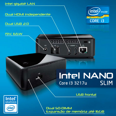 Mini PC Bluetech Nano Slim Intel Core i3 3217U 1.80Ghz, 4GB DDR3, HD M-Sata 32GB, 2x HDMI, 3x USB, Rede Gigabit, Wifi  - Engemicro