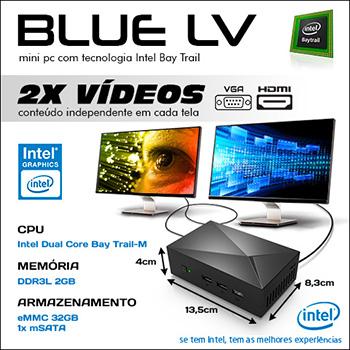 Mini PC Bluetech LV Intel® Dual Core™ N2808, 2GB DDR3, HD 32GB eMMC, HDMI, VGA, LAN, Wifi b/g/n, Gráficos HD Intel  - Engemicro