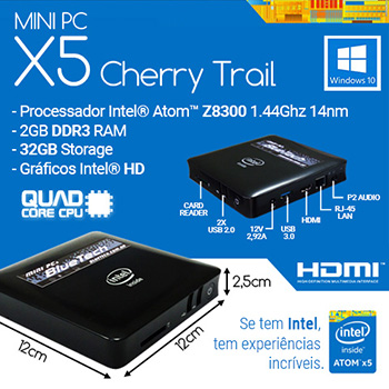 MiniPc Bluetech Intel® Quad Core X5 Cherry Trail Z8300, 2GB DDR3, 32GB Armazenamento, Gigabit LAN, Wifi b/g/n, Bluetooth, Windows 10  - Engemicro