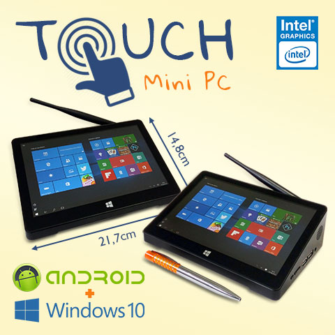 Mini PC Bluetech Touch Intel® Quad Core 2GB DDR3L, HD 32GB eMMC, HDMI, Wifi b/g/n, Gráficos HD Intel, Windows 10 + Android, Tela 8.9 pol - Engemicro