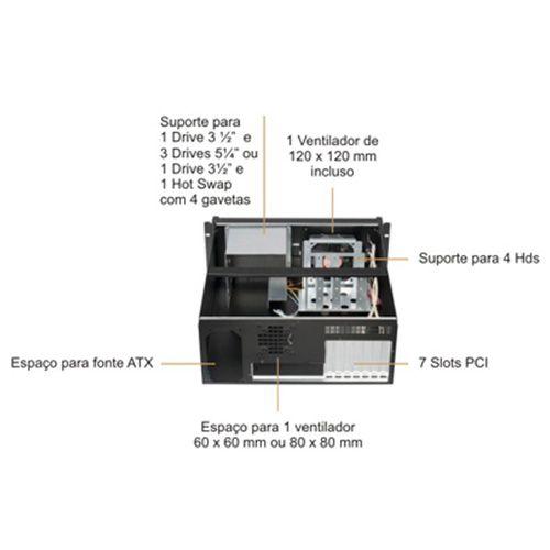 Gabinete rack Nilko NK311 4U Single front, 19 pol. 50cm - NK031140-A001  - Engemicro