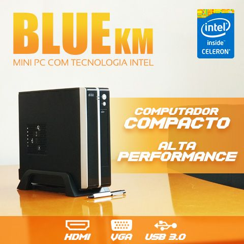 Mini PC Bluetech KM Intel Celeron Dual Core J1800, 2GB DDR3, HD 500GB, HDMI, VGA, USB 3.0, Rede Gigabit  - Engemicro