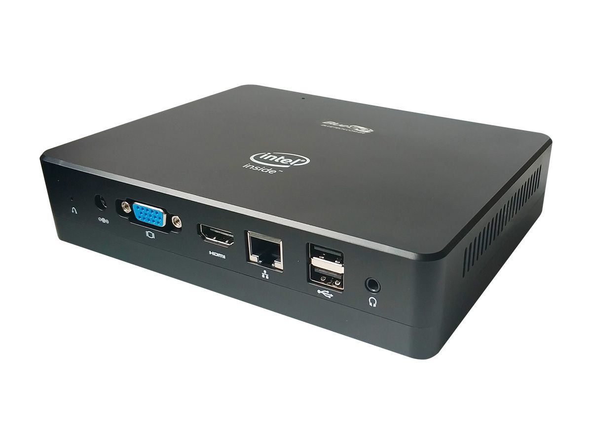 Mini PC Bluetech LV Plus, Intel Quad Core, 4GB DDR3, 32GB eMMC, SSD 120GB, 1x VGA, 1x HDMI, 1x RJ45 Gigabit, Wifi, Bluetooth, USB 3.0 Tipo-C, Windows 10  - Engemicro
