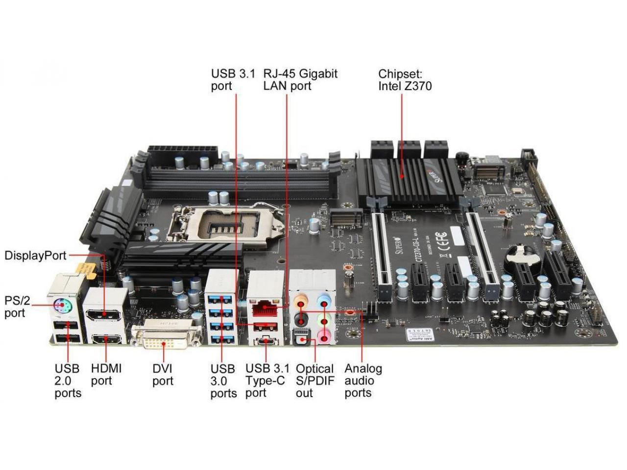 PLACA MAE SUPERMICRO Z370 ATX - INTEL 8A. GER (1151) - DDR4 - C7Z370-CG-L  - Engemicro