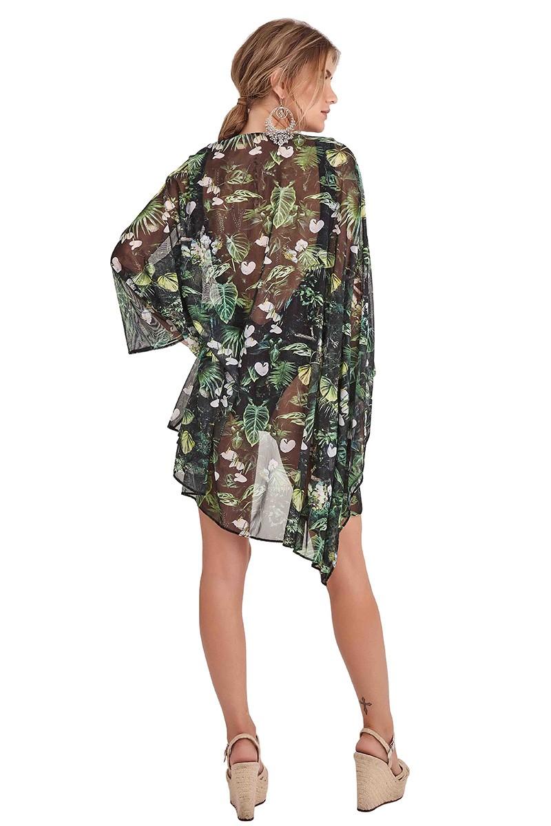 Kimono Malaga Folhagem escura