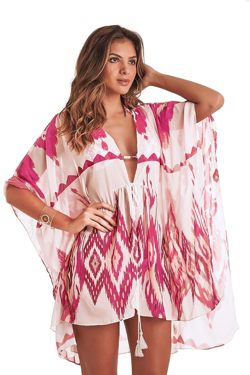 Kimono Malaga Estampa Ikat Pink