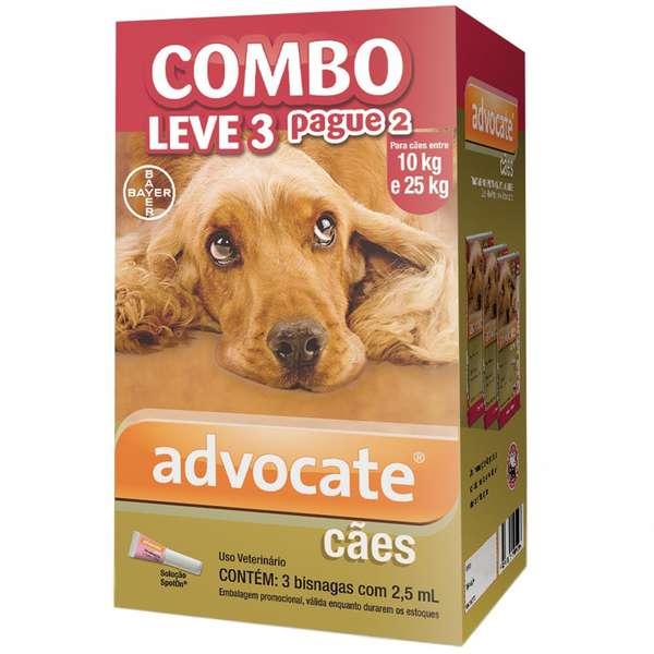 Anti Pulgas Combo Advocate Bayer para Cães de 10kg a 25kg - 2,5ml