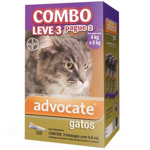 Anti Pulgas Combo Advocate  para Gatos de 4kg a 8kg - 0,8ml