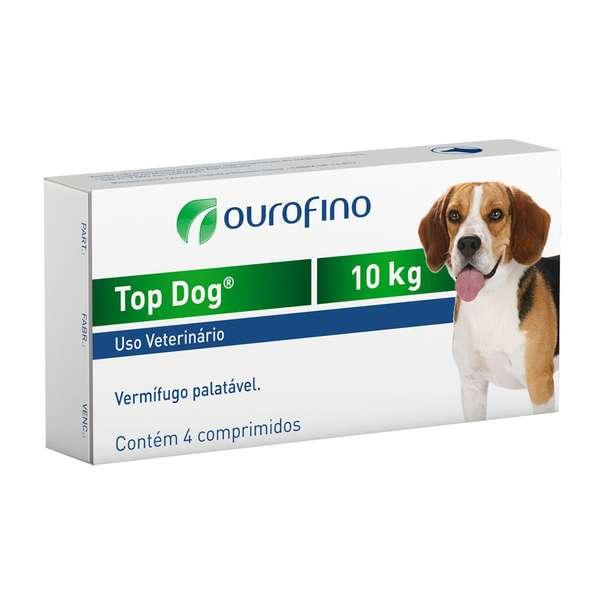 Vermifugo  Top Dog para Cães de até 10kg - 4 Comprimidos